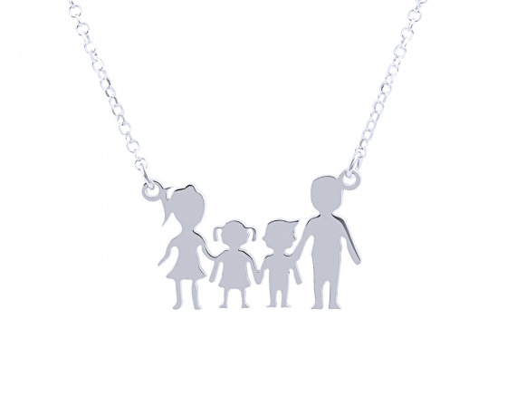 "Image of """"Parents & Kids"" silver necklace"""