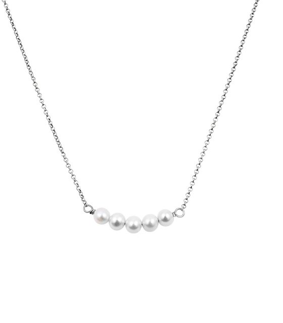 "Image of """"Queen of Pearls"" silver necklace"""