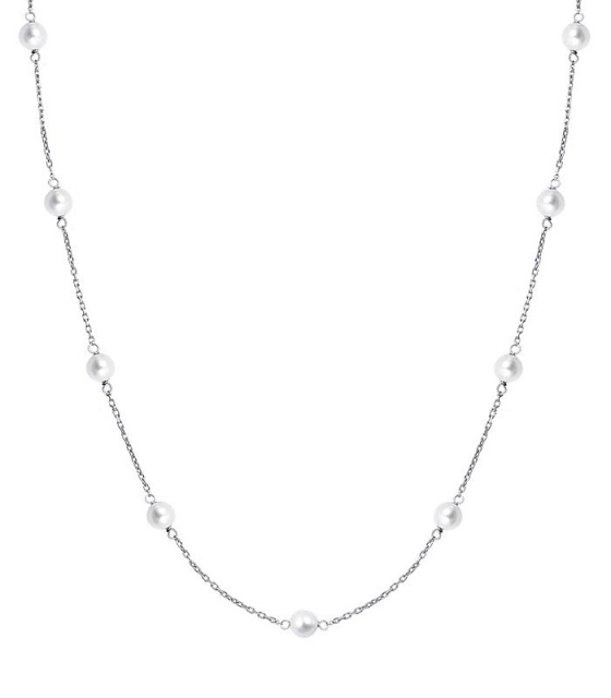 "Image of """"Pearly Light"" silver necklace"""