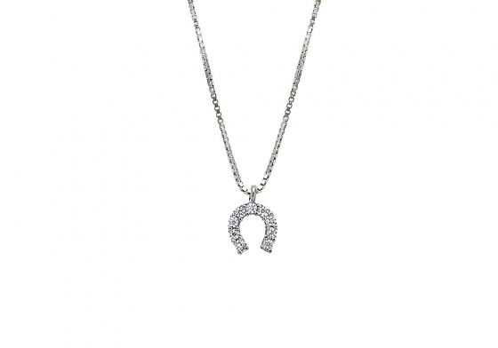 "Image of """"Lucky Horseshoe"" silver necklace"""