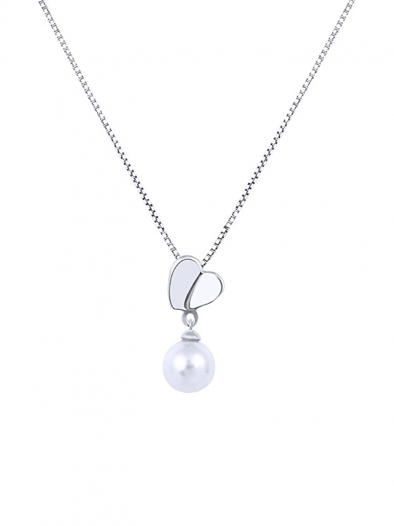"Image of """"Pearl & Heart"" silver necklace"""