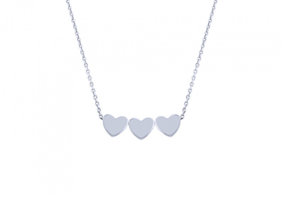 """Image of """"""""Triple Festive Hearts"""" silver necklace"""""""