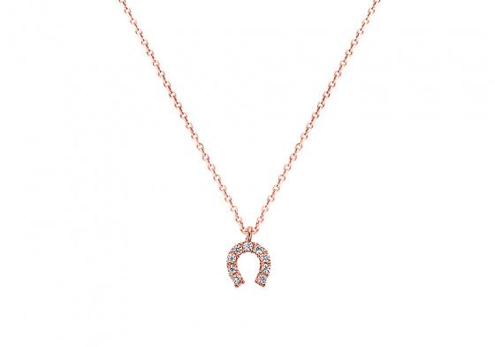 """Image of """"""""Lucky Horseshoe"""" rose gold K9 necklace """""""