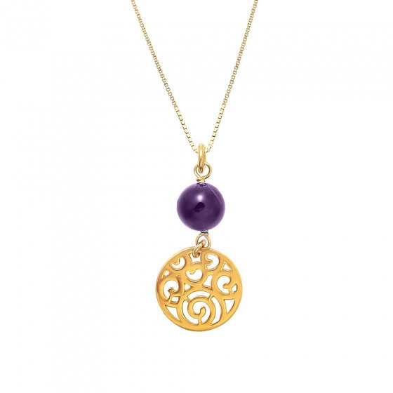 """Image of """"Amethyst pendant silver 925 goldplated"""""""