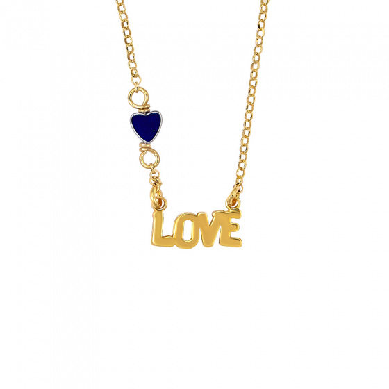 """Image of """"Pendant LOVE with Agate, silver goldplated"""""""