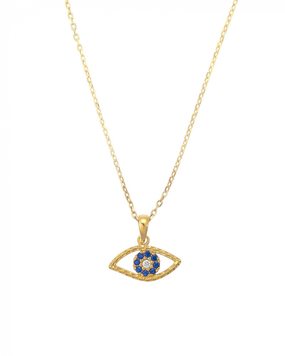 "Image of ""Blue zircons Eye pendant, silver 925 goldplated"""