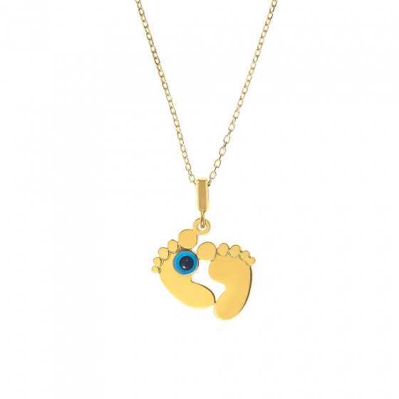 """Image of """"Baby feet silver pendant goldplated with small eye"""""""