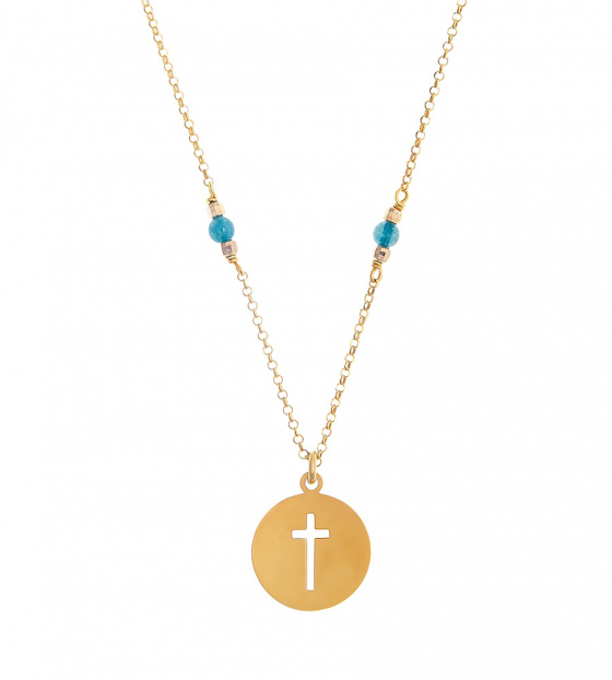 "Image of """"Cross in Circle"" silver necklace gold plated"""