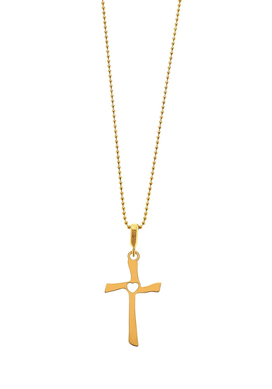 "Image of """"Crossed Heart"" silver cross gold plated"""