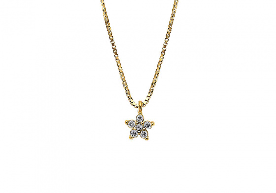"Image of """"White Star"" silver necklace gold plated"""
