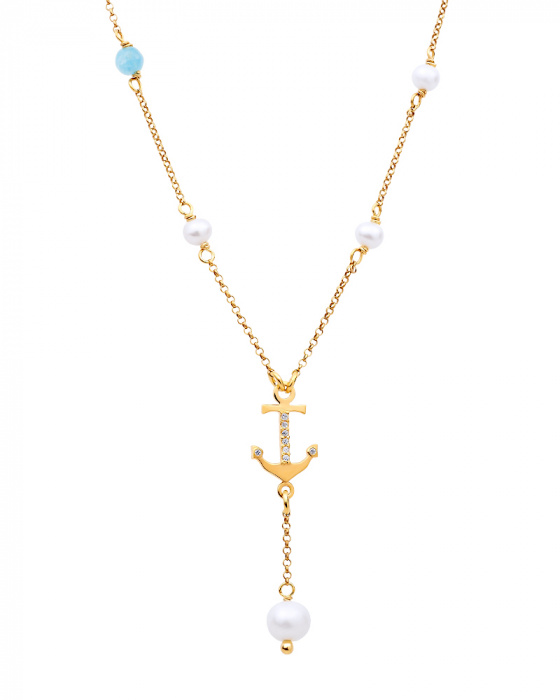 "Image of """"Mistress of the Sea"" silver necklace gold plated"""