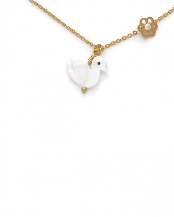 """Image of """"""""Lovely Swan"""" silver children's necklace gold plated"""""""