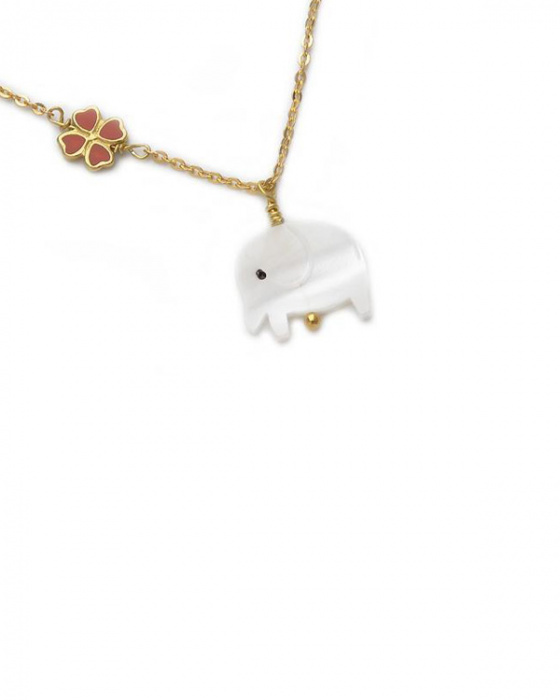 "Image of """"Lovely Elephant"" silver children's necklace gold plated"""