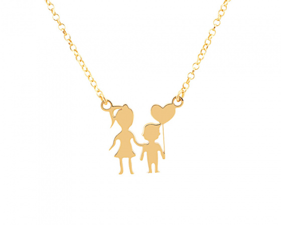 "Image of """"Mother & Son"" silver necklace gold plated"""