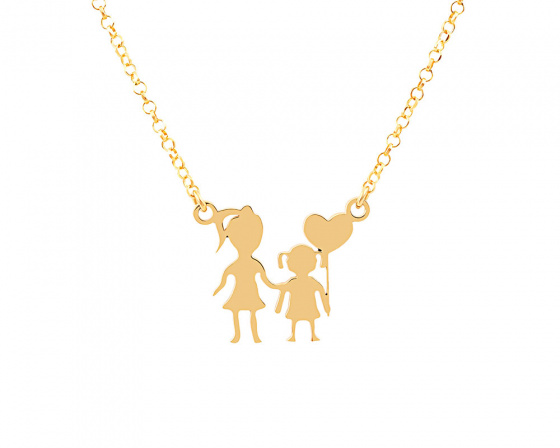 "Image of """"Mother & Daughter"" silver necklace gold plated"""