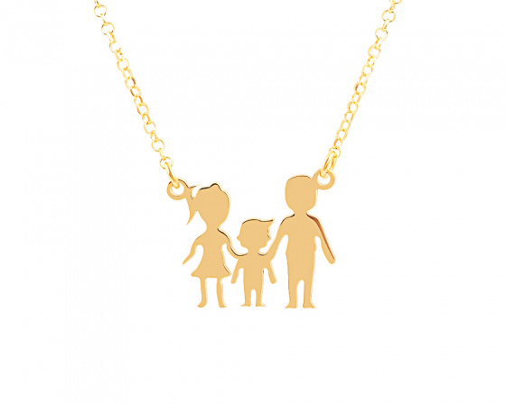 "Image of """"Parents & Son"" silver necklace gold plated"""