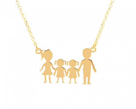 "Image of """"Parents & Two Daughters"" silver necklace gold plated"""