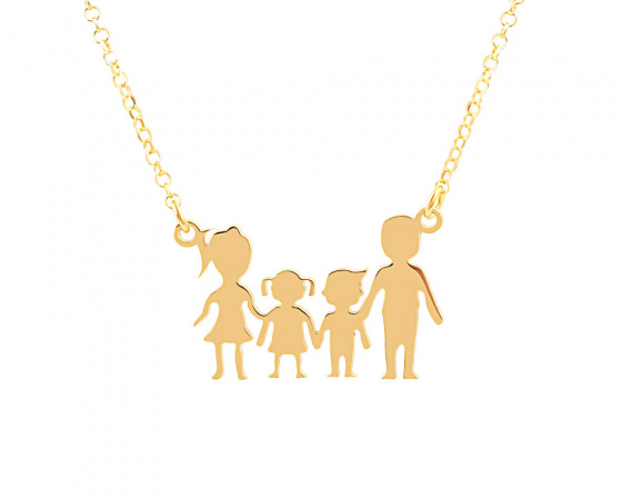 "Image of """"Parents & Kids"" silver necklace gold plated"""