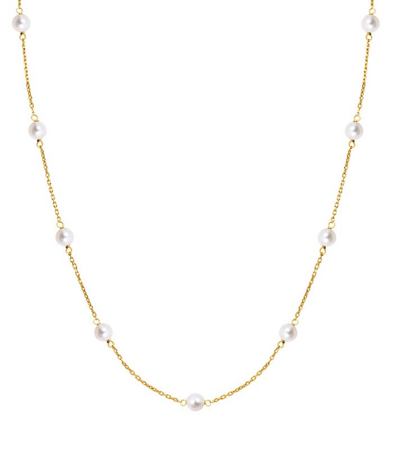 "Image of """"Pearly Light"" silver necklace gold plated"""