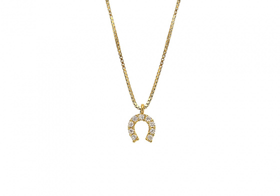 "Image of """"Lucky Horseshoe"" silver necklace gold plated"""