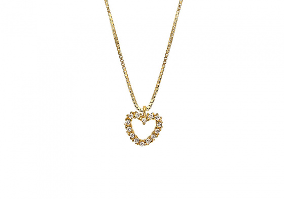 "Image of """"Lucky Heart"" silver necklace gold plated"""