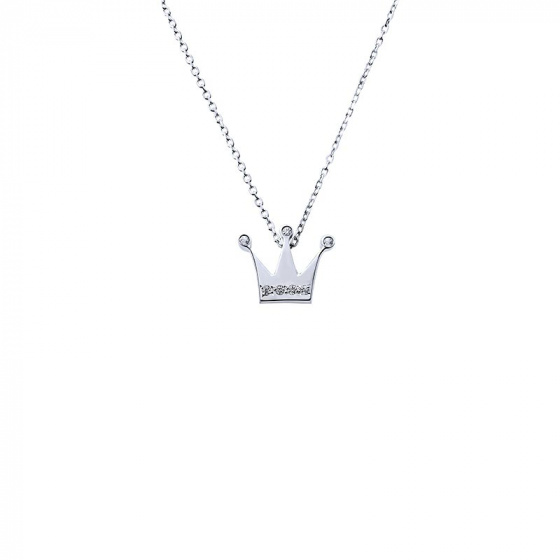 "Image of """"Tiny Crown"" white gold necklace K14"""