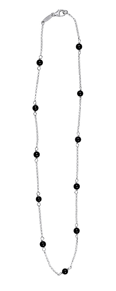 "Image of ""Rosary necklace white gold K14 with Onyx 45cm"""