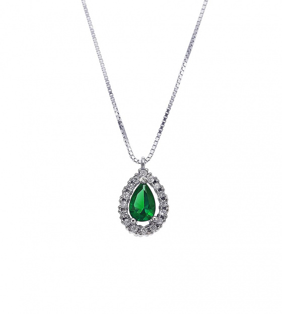 "Image of """"A Green Teardrop"" white gold necklace K14"""