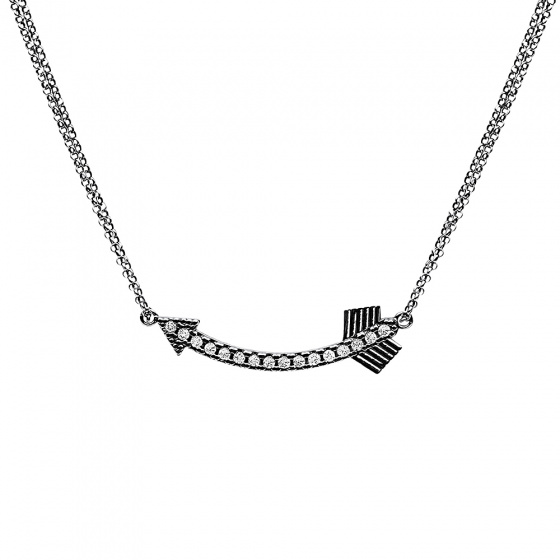 """Image of """"""""Shiny Arrow"""" silver necklace black rhodium plated"""""""