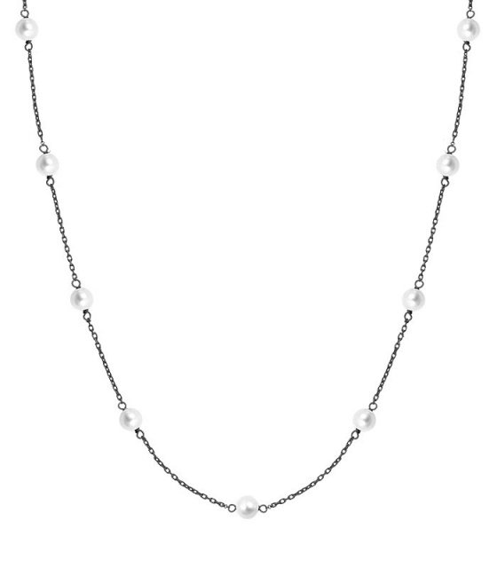 "Image of """"Pearly Light"" silver necklace black rhodium plated"""