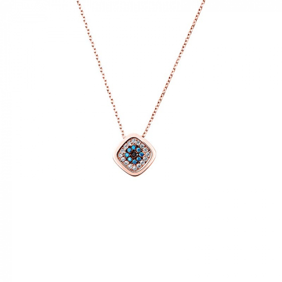 "Image of """"Shiny Square"" rose gold necklace K14"""