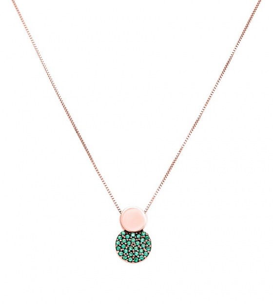"Image of """"Green Planet"" rose gold necklace K14"""