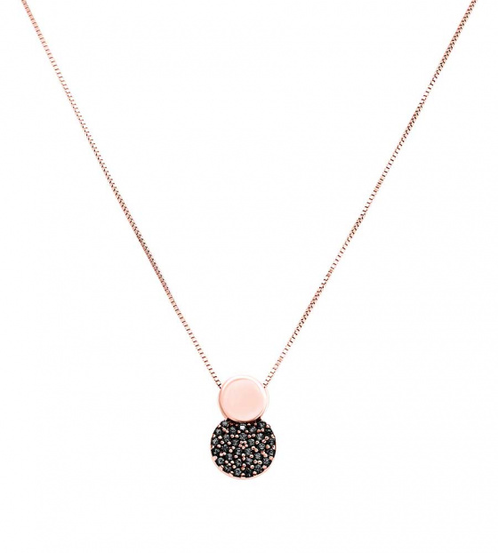 "Image of """"Black Planet"" rose gold necklace K14"""