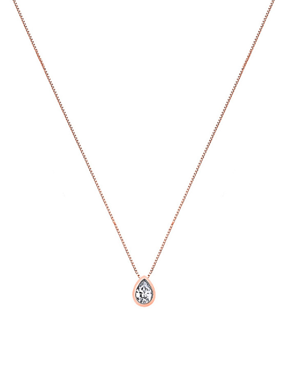 """Image of """"""""Lonely Tear #1"""" rose gold necklace K14"""""""