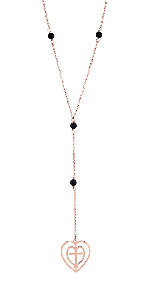 "Image of """"Love & Faith"" silver long necklace rose gold plated"""