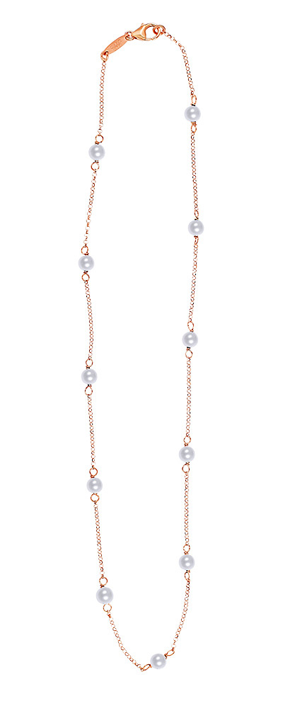 "Image of ""Simple Rosary necklace, rosegold plated silver with Pearls"""