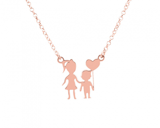 "Image of """"Mother & Son"" silver necklace rose gold plated"""