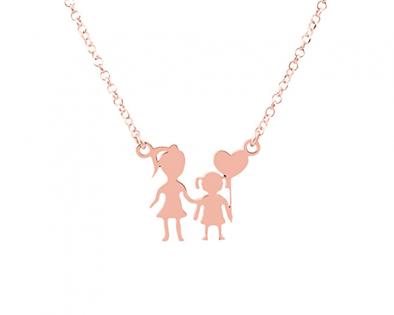 "Image of """"Mother & Daughter"" silver necklace rose gold plated"""