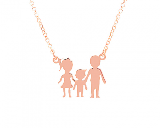 "Image of """"Parents & Son"" silver necklace rose gold plated"""