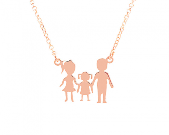 "Image of """"Parents & Daughter"" silver necklace rose gold plated"""