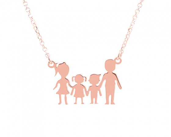 "Image of """"Parents & Kids"" silver necklace rose gold plated"""