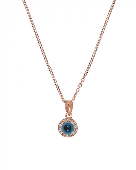"Image of """"Observing Eye"" silver eye pendant rose gold plated"""