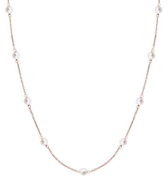 "Image of """"Pearly Light"" silver necklace rose gold plated"""