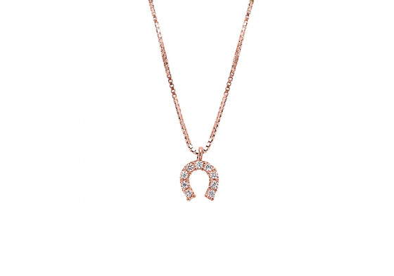 "Image of """"Lucky Horseshoe"" silver necklace rose gold plated"""