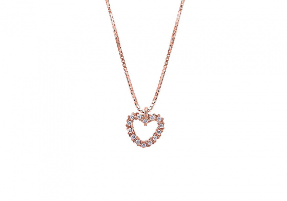 "Image of """"Lucky Heart"" silver necklace rose gold plated"""