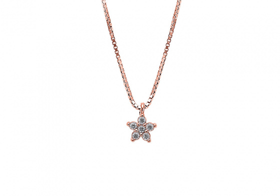 "Image of """"White Star"" silver necklace rose gold plated"""