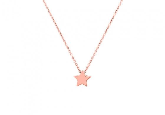 """Εικόνα του """"Ασημένιο κολιέ """"Festive Star"""" ροζ επίχρυσο"""""""