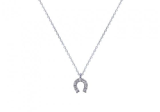 """Image of """"""""Lucky Horseshoe"""" white gold K9 necklace """""""