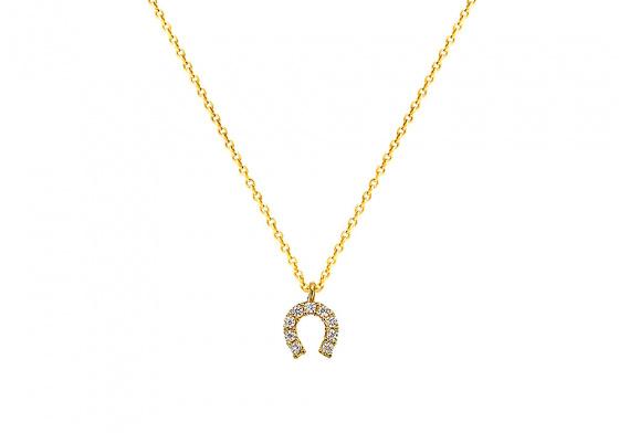 """Image of """"""""Lucky Horseshoe"""" gold K9 necklace """""""