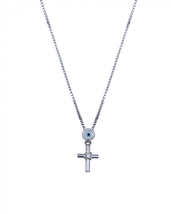 "Image of """"Lucky Charm"" silver cross with chain"""
